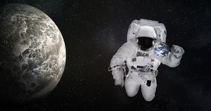 Free Single Giant Astronaut In Outer Space Near Tiny Earth And Moonlike Planet. Elements Of This Image Were Furnished By NASA. Royalty Free Stock Photo - 138681415