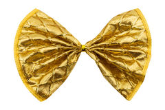 single gift bow, golden with one ribbon Royalty Free Stock Photo