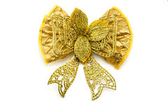 single gift bow, golden with one ribbon Royalty Free Stock Image