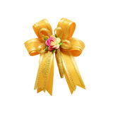 Single gift bow, golden satin, Stock Images