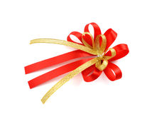 Single gift bow, red satin, with one ribbon isolated on white Royalty Free Stock Photos