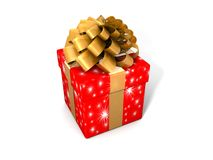 Single gift box with ribbon Stock Image