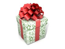Single gift box with ribbon Stock Photos