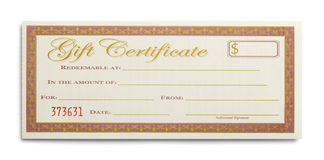 Single Gift Certificate. Blank Gift Certificate Isolated on White Background royalty free stock photography