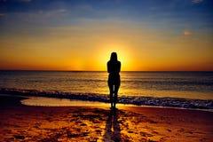 Single Girl on the Beach stock photos