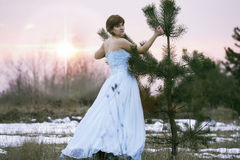 Single girl with old dress Royalty Free Stock Images