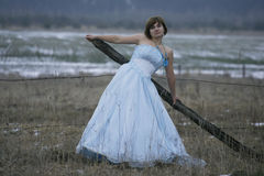 Single girl with old dress Stock Images