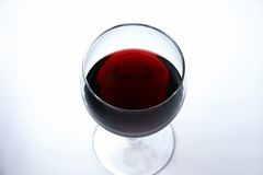 Single glass of red wine. With white background Stock Photo