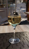 Single glass of white wine on the table. Royalty Free Stock Image