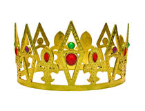 Single gold crown with gems. Photo of king's golden crown encrusted with precious gems royalty free stock photos