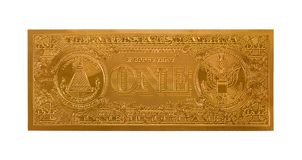 Gold One Dollar Bill. Single Gold Dollar Bill Isolated on a White Background Stock Photo