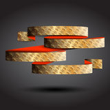 Single gold ribbon on the black background Royalty Free Stock Photography