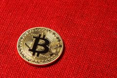 Single Golden Bitcoin Coin on red background. Bitcoin cryptocurrency. Business concept. royalty free stock image