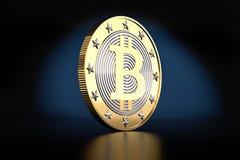 A Single Golden Bitcoin Stock Image