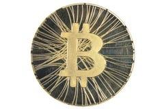 Single Golden BTC Bitcoin coin Royalty Free Stock Photos
