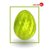 Single golden chicken egg  on white background. Colorful Happy Easter greeting card, design graphics. Stock Photography