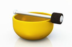 Single golden singing bowl on white 01. 3D golden singing Bowl on white background stock illustration