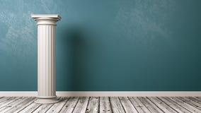 Greek Column in the Room. Single Greek Column in the Room with Copyspace 3D Render stock illustration