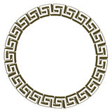 Single Greek key circle gold. Isolated on white. Illustration Stock Photography