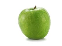 Single green apple. Isolated over white background royalty free stock photo