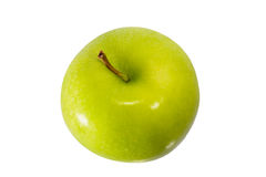 Single Green Apple. Isolated on a white background royalty free stock images