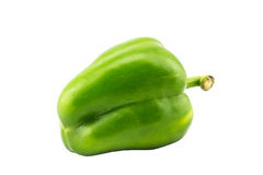 Single green bell pepper on white background with isolated. Picture stock image