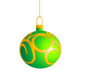 Single Green Christmas ball. Closeup green Christmas ball with golden pattern. Isolated object on white background. Vector Royalty Free Stock Photography