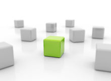 Single green cube standing out Stock Image