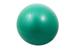 Green exercise ball. Single green exercise ball isolated on white background Stock Images
