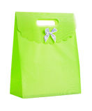 Single green paper bag Royalty Free Stock Photo