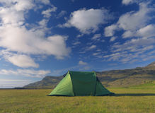 Single green tent in the open Stock Photography