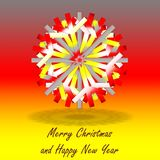 A single grey red yellow Christmas star, on background with colors inspired by the German flag, with greetings. A single grey red yellow Christmas star with a vector illustration