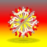 A single grey red yellow Christmas star with a shadow on bottom, on background with colors inspired by the German flag. As a card, post card, invitation, etc Stock Image