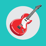 Single guitar flat design vector Royalty Free Stock Images