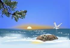 Single Gull Above Stone In Sea Stock Image