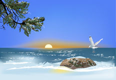 Single gull above stone in sea Stock Image