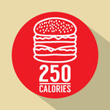 Single Hamburger 250 Calories Symbol Royalty Free Stock Photo
