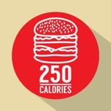 Single Hamburger 250 Calories Symbol Royalty Free Stock Photo