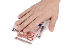 Single hand on the Euro banknotes isolated. Put hands on the money. Cash grab Stock Photos