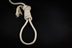 Single Hangmans Noose in White Rope on Black Royalty Free Stock Photography