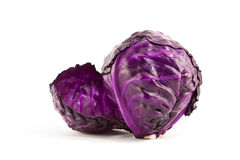 Single head of purple cabbage. Royalty Free Stock Images