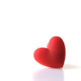Single Heart. Studio image of single Valentine heart. on white. Copy space stock photo