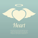 Single Heart Wings With Halo Symbol Royalty Free Stock Photography