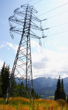 Single high tense pylon in mountains Stock Photography
