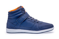 Single of high top fashion blue sneakers Royalty Free Stock Images