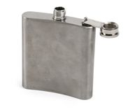 Single hip flask against white Royalty Free Stock Images