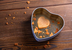 Single homemade ginger cookie in heart shaped box Royalty Free Stock Image