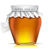 Single honey jar with tag Royalty Free Stock Images