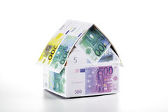 Single house of Euro notes Royalty Free Stock Photo