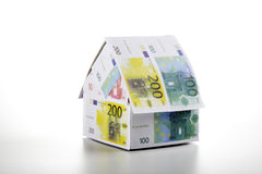 Single house of Euro notes Royalty Free Stock Image